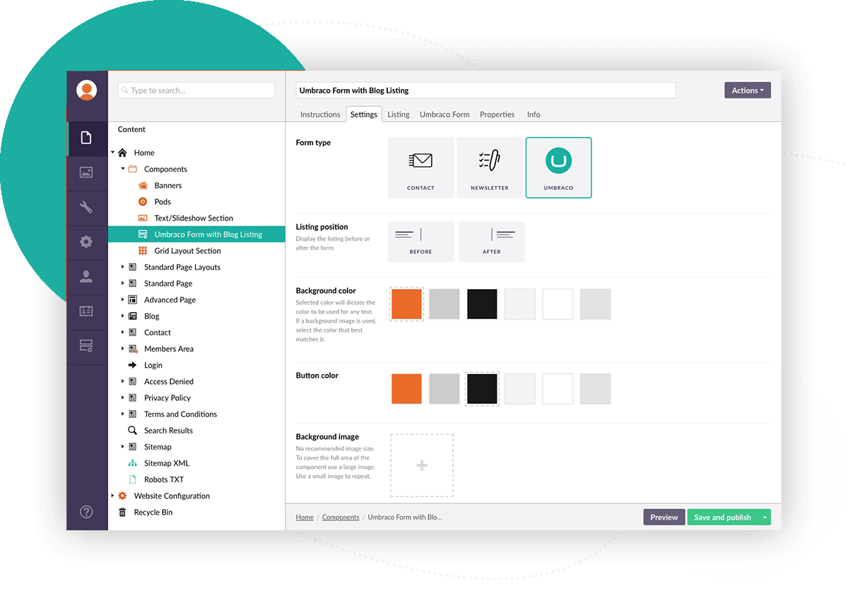 umbraco dashboard